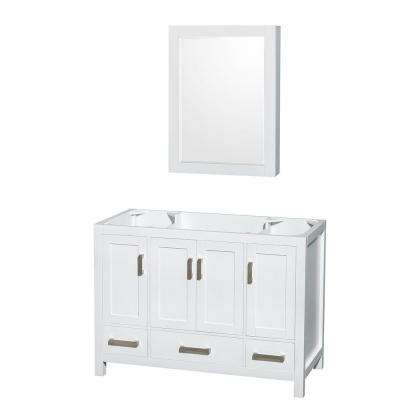 Sheffield 48 in. Vanity Cabinet with Medicine Cabinet and Mirror in White