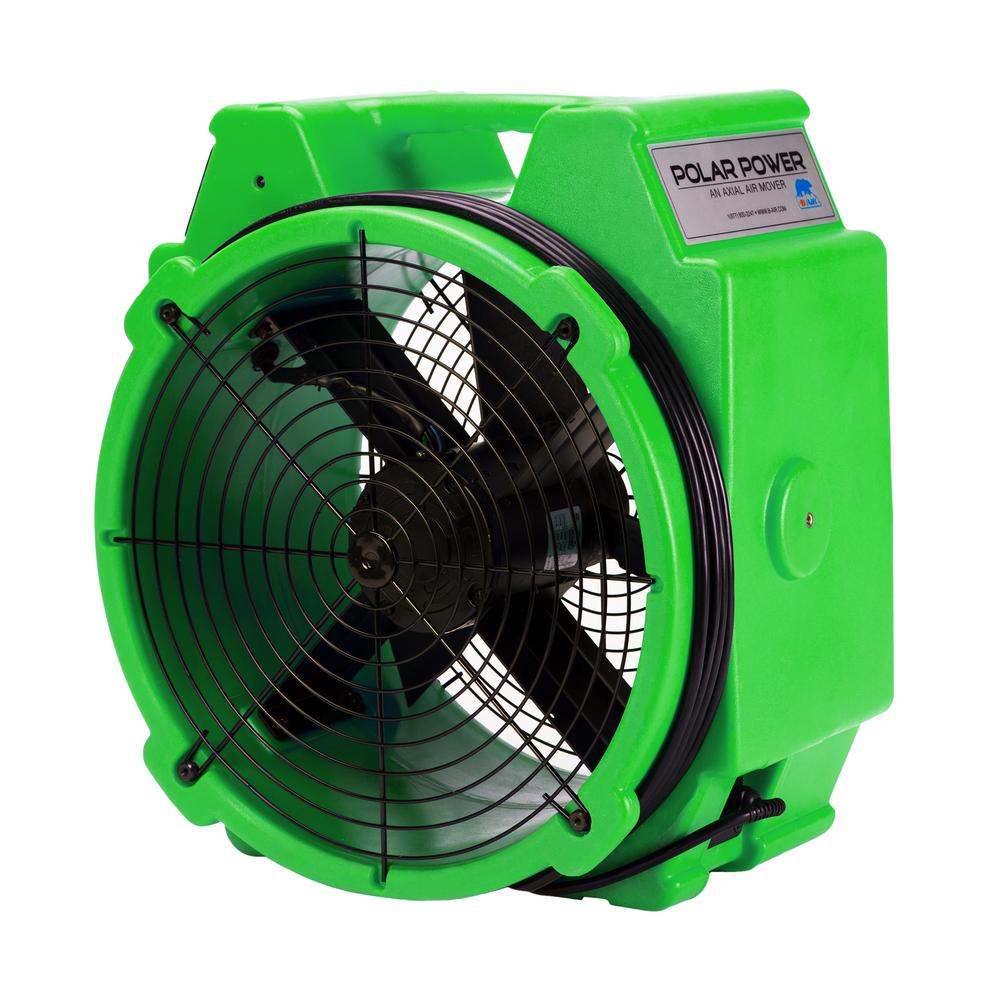 B-Air PB-25 1/4 Polar Axial Blower Fan High Velocity Air Mover for Water Damage Restoration in Green