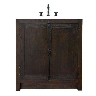 Plantation 31 in. W x 22 in. D Bath Vanity in Brown with Quartz Vanity Top in White with White Oval Basin