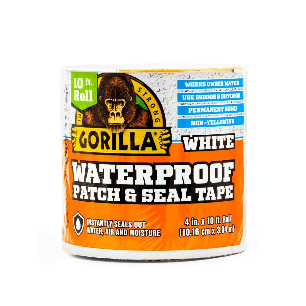 Gorilla 4 in. x 10 ft. White Waterproof Patch and Seal Tape (4-Pack)