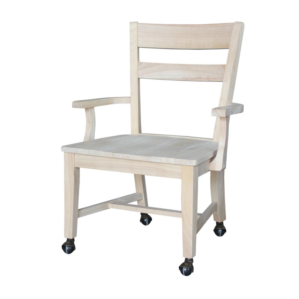 International Concepts Unfinished Mobile Desk Chair The best furniture is made from real wood. Consider the longevity of antique furnishings, beautifully crafted from real, solid wood, handed down for generations and still in great condition after decades of use. Today we use eco-friendly hardwood known as Rubberwood. Your home is your castle and so the furnishings you choose for it should be pieces selected not only for their style, but for the craftsmanship that went into making them. International Concepts Home Office collection imbodies these principles bringing you style and craftsmanship. Color: Unfinished.
