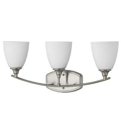 Stansbury Collection 3-Light Brushed Nickel Bathroom Vanity Light with Glass Shades