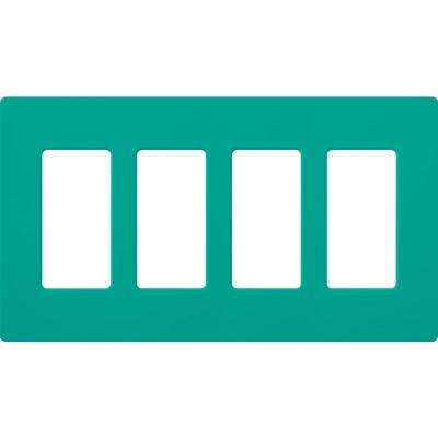 Claro 4 Gang Decorator Wallplate, Turquoise