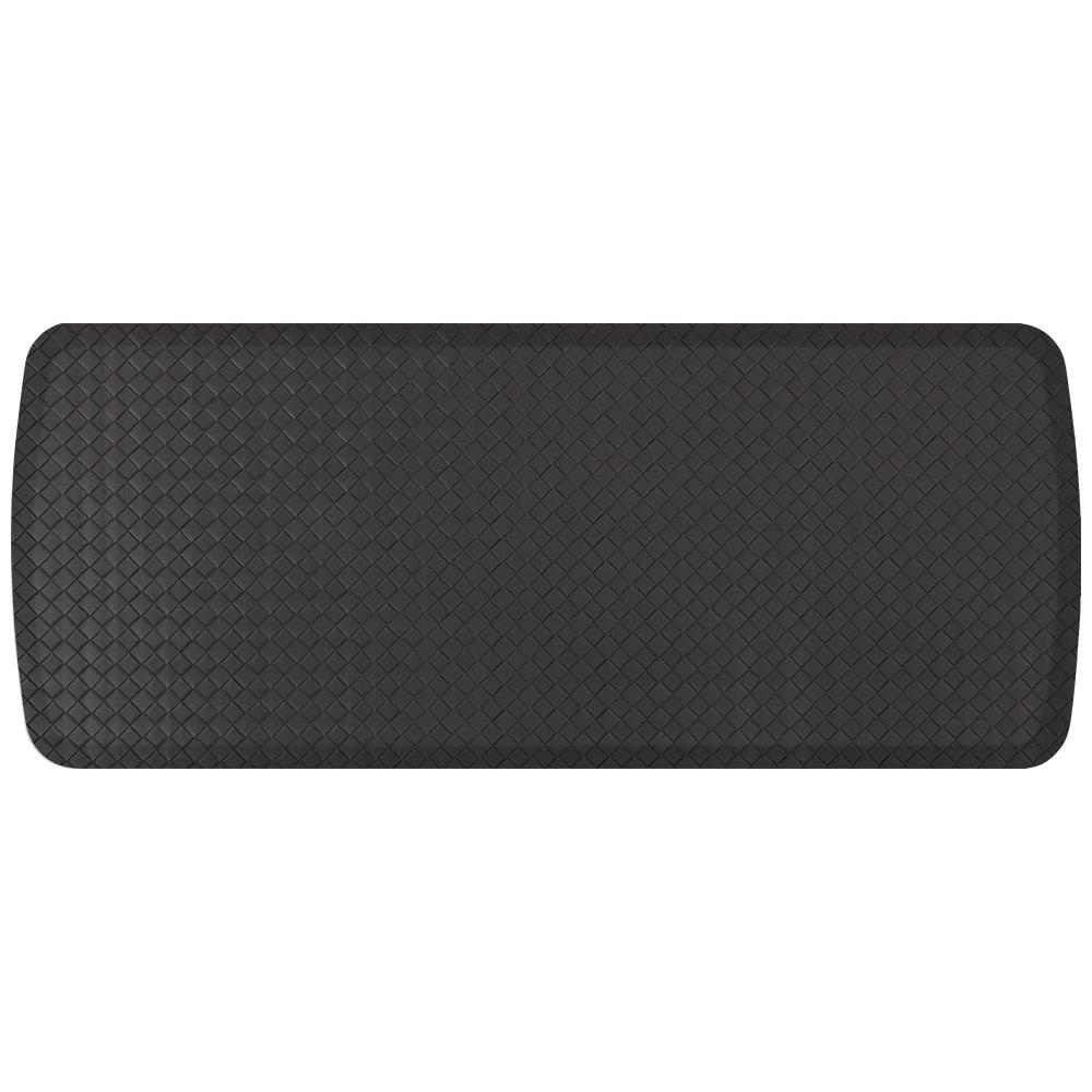 Elite Basketweave Black 20 in. x 48 in. Comfort Kitchen Mat