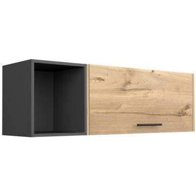 Aster 47 in. x 13 in. Natural Wood Wall Shelf with Vertically Lifting Door