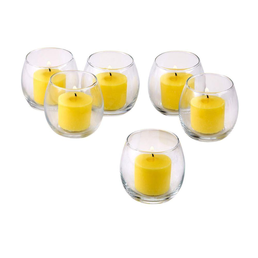Clear Glass Hurricane Votive Candle Holders with Citronella Yellow Votive