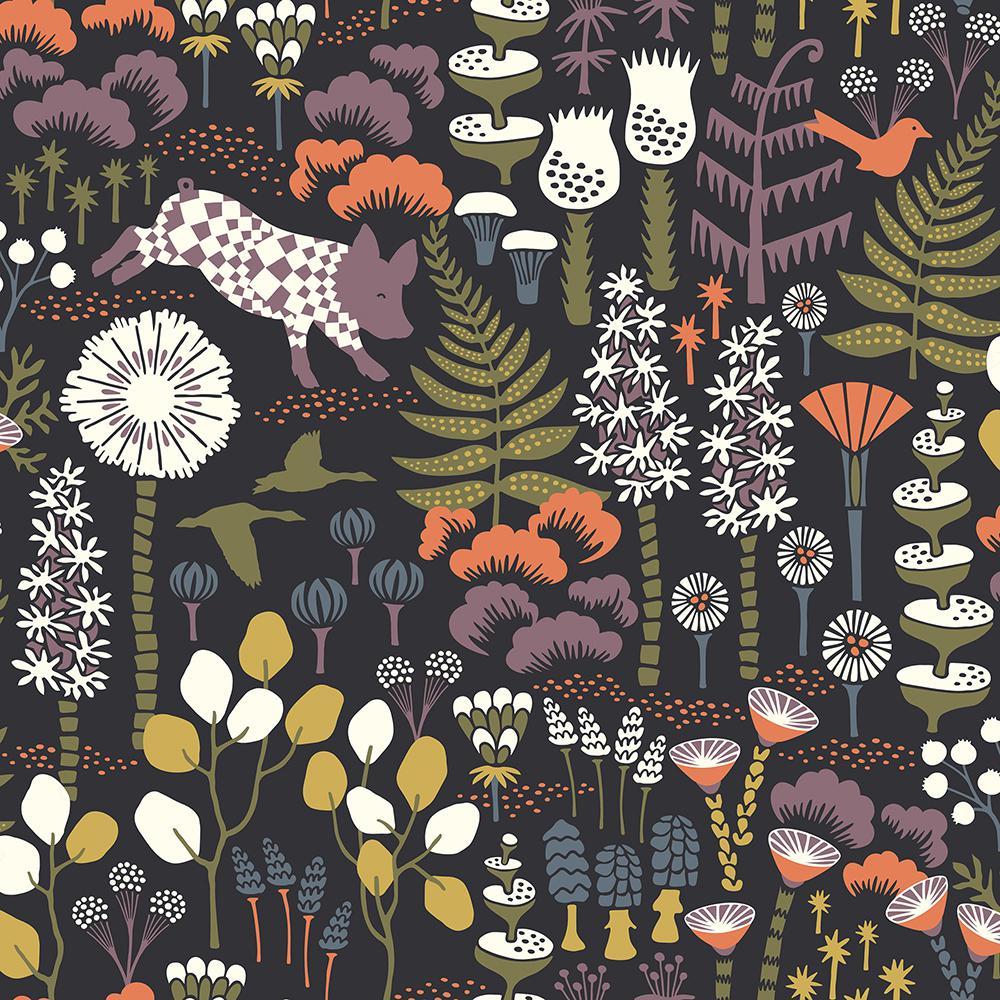 8 in. x 10 in. Hoppet Black Folk Wallpaper Sample WV1452SAM