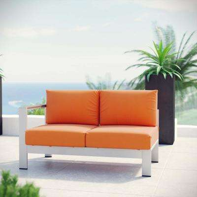 Shore Patio Aluminum Left Arm Outdoor Sectional Chair Loveseat in Silver with Orange Cushions