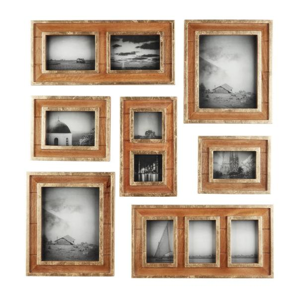 Home Decorators Collection Home Decorators Collection Natural Wood And Gold Gallery Wall Picture Frames Set Of 7 7005lwd The Home Depot