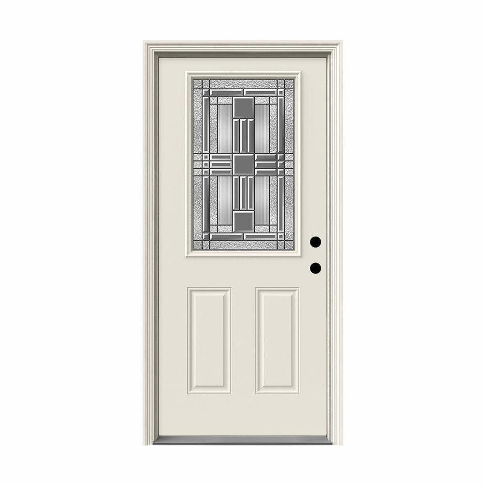 JELD-WEN 36 in. x 80 in. 1/2 Lite Cordova Primed Steel Prehung Left-Hand Inswing Front Door w/Brickmould