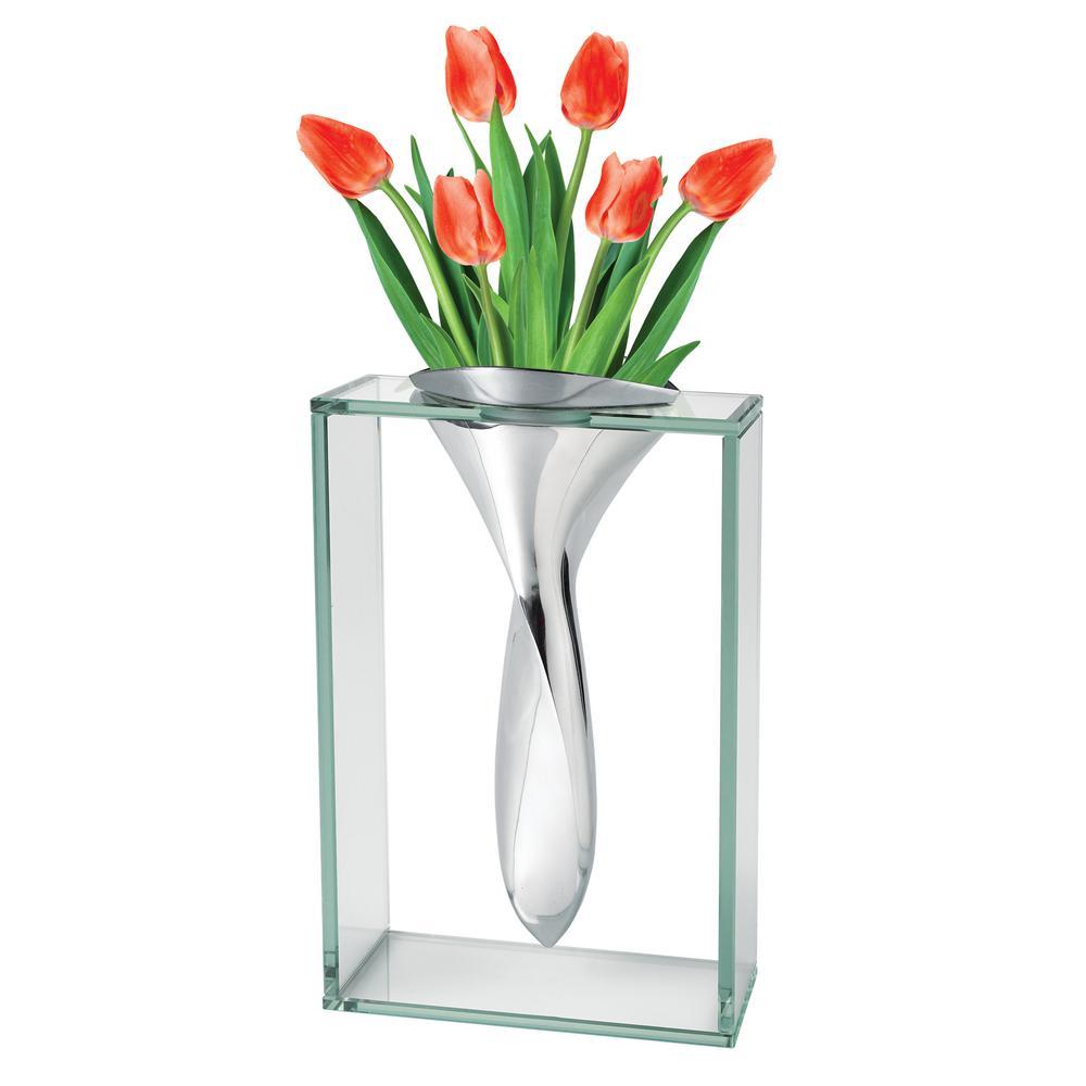 The Elvis 13 in. Non Tarnish Aluminum and Glass Vase