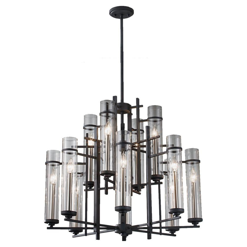 Ethan 12-Light Antique Forged Iron/Brushed Steel Multi-Tier Chandelier Shade