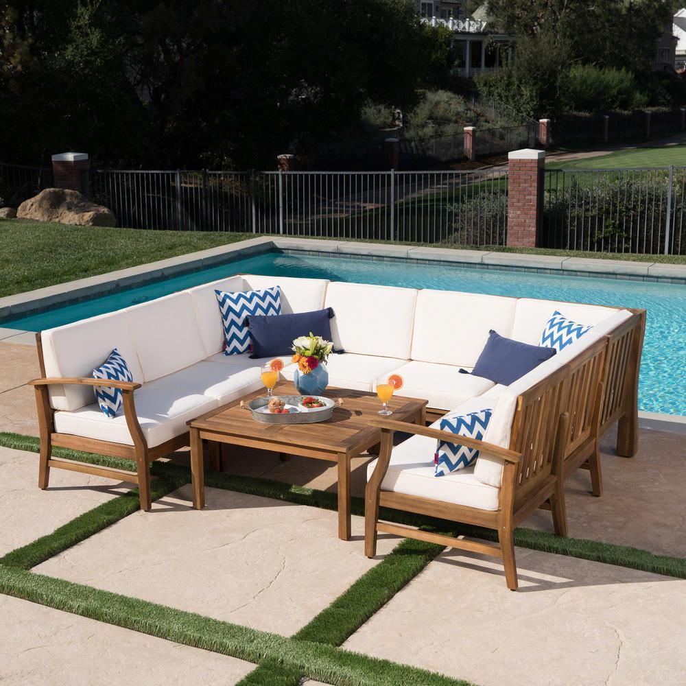 Noble House Perla Teak Finish 9-Piece Wood Outdoor Sectional Set ...