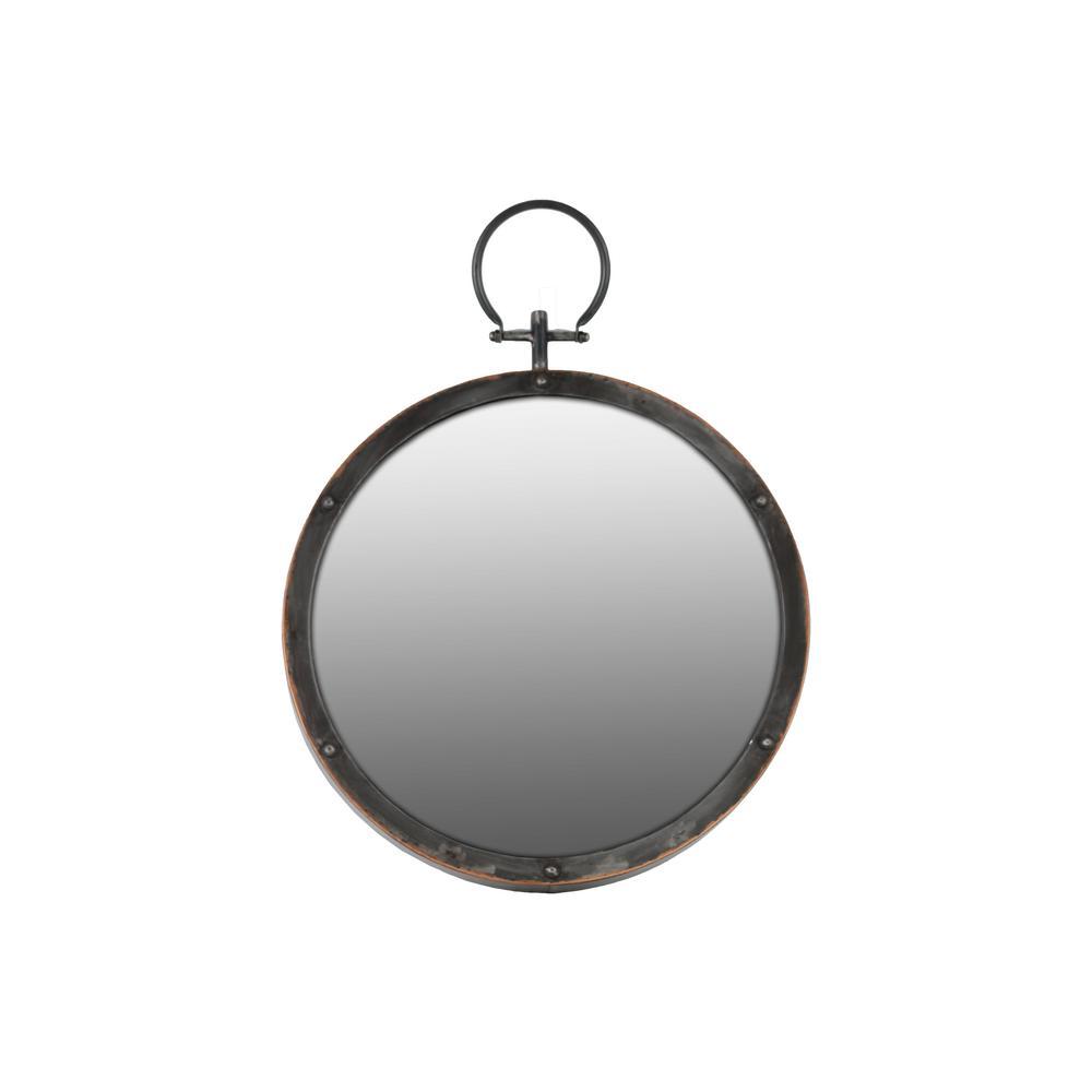 Round Black Gloss Wall Mirror
