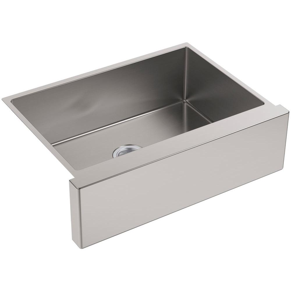 Kohler Strive Farmhouse A Front Stainless Steel 30 In Single Bowl Kitchen Sink Kit