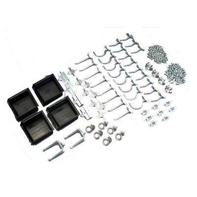 Zinc Plated Steel Craft Hook Assortment Kit and Hanging Bin Kit (64-Pieces)