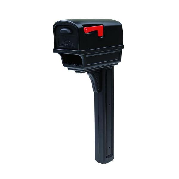 Gentry All-in-One, Large, Plastic, Mailbox and Post Combo, Black