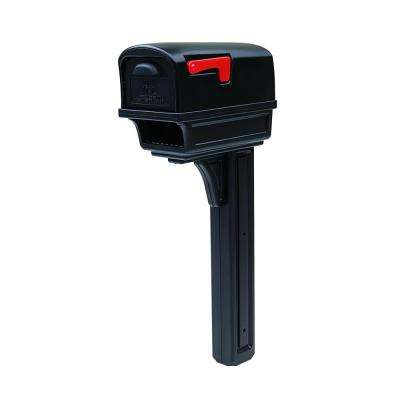 Gentry All-in-One Black Plastic Mailbox and Post Combo