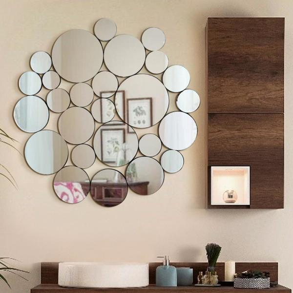 Fab Glass And Mirror 39 X 40 5 In Nickles And Dimes Ornate Round Wall Mirror Decorative Design Fab Wstc005 The Home Depot