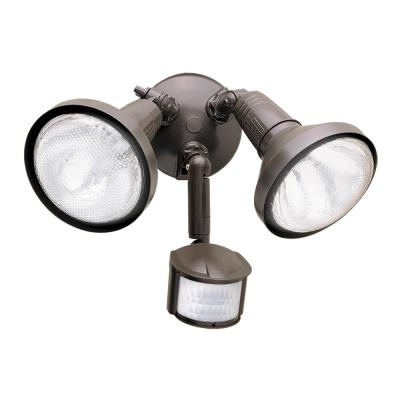 180-Degree Bronze Twin Head Motion Activated Outdoor Flood Light