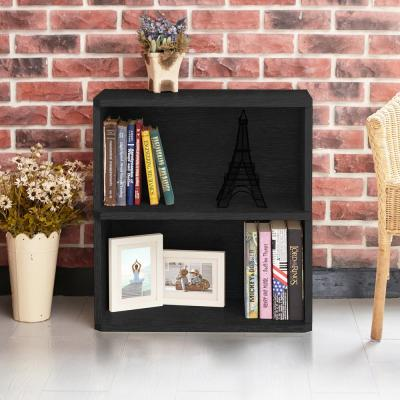 24.7 in. Black Wood 2-shelf Standard Bookcase with Cubes