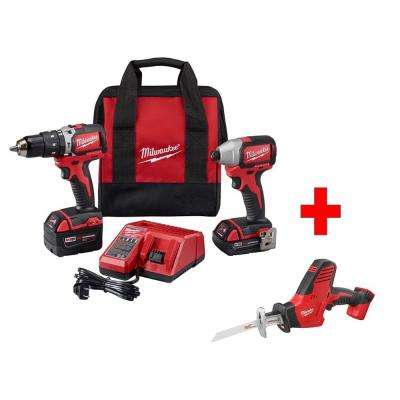 M18 18-Volt Lithium-Ion Cordless Compact Brushless Hammer Drill/Impact Combo Kit (2-Tool) with Free M18 Hackzall