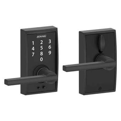 Century Matte Black Electronic Door Lock with Latitude Door Lever