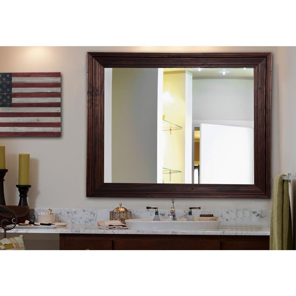 21 in. W x 21 in. H Framed Rectangular Bathroom Vanity Mirror in Brown