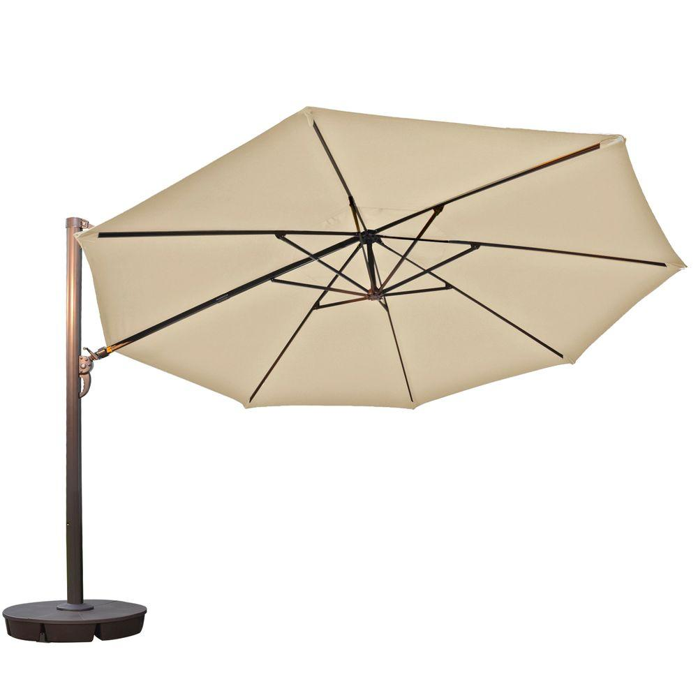 Island Umbrella Victoria 13 Ft. Octagonal Cantilever Patio Umbrella In  Beige Sunbrella Acrylic NU6745   The Home Depot