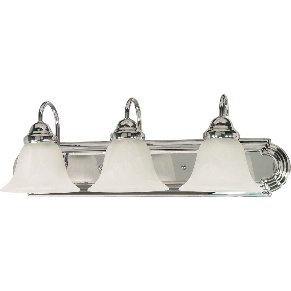 Glomar 3 light polished chrome vanity light with alabaster glass glomar 3 light polished chrome vanity light with alabaster glass bell shades hd 317 the home depot mozeypictures Image collections