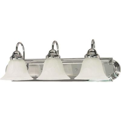 3-Light Polished Chrome Vanity Light with Alabaster Glass Bell Shades