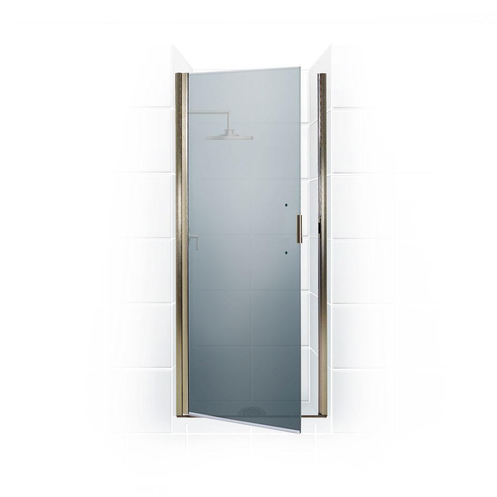 Coastal Shower Doors Paragon Series 25 in. x 69 in. Semi-Framed Continuous Hinge Shower Door in Brushed Nickel with Satin Etched Glass