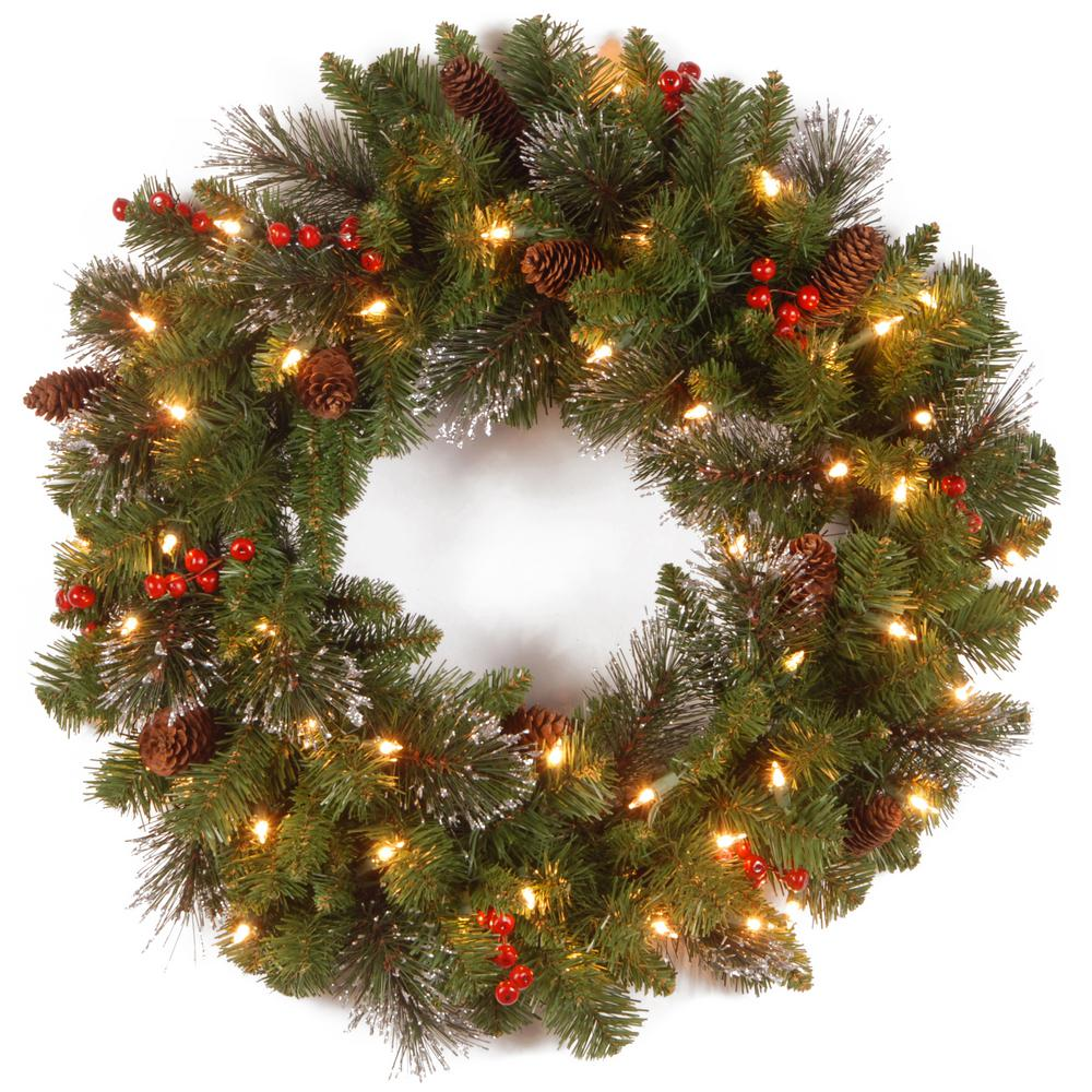 national tree company crestwood spruce 24 in artificial wreath with battery operated warm white led - Battery Lighted Christmas Decorations