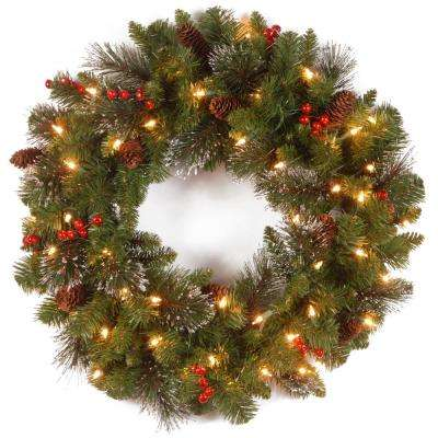 artificial wreath with battery operated warm white led lights
