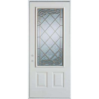 36 in. x 80 in. Art Deco 3/4 Lite 2-Panel Painted White Steel Prehung Front Door
