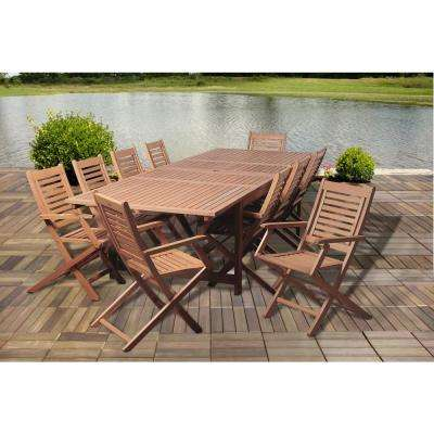 Robinson 11 Piece Eucalyptus Extendable Rectangular Patio Dining Set
