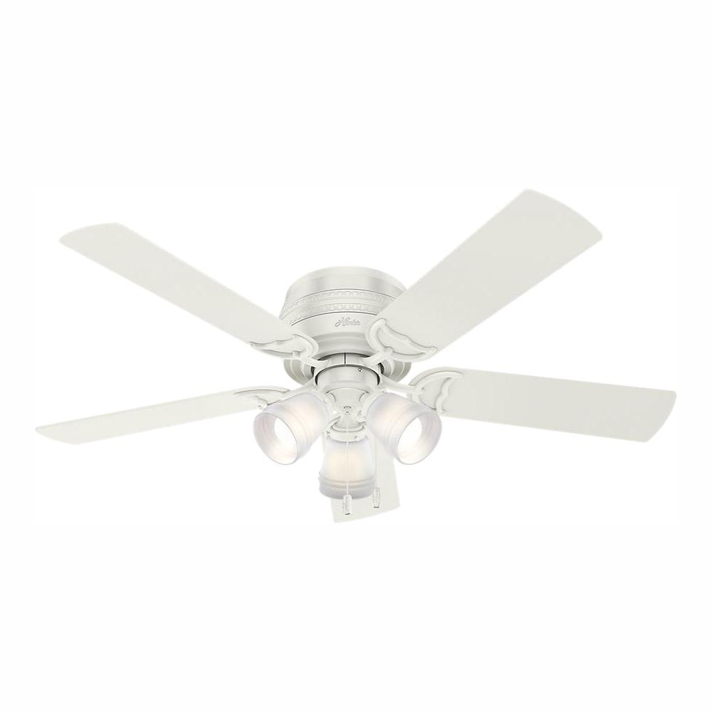 Hunter Prim 52 in. LED Indoor Low Profile 3-Light Fresh White Ceiling Fan