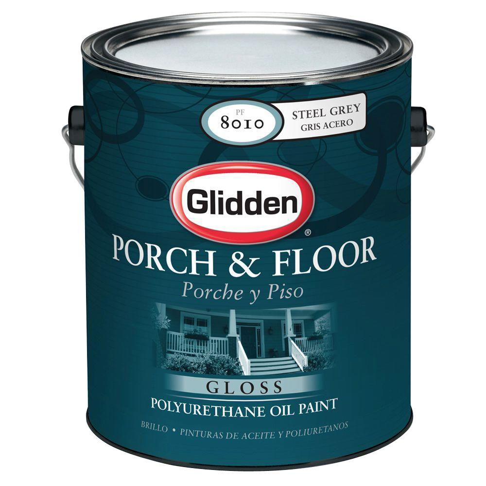 Glidden porch and floor 1 gal steel gray gloss interior exterior polyurethane oil paint pf8016 for Exterior polyurethane for decks