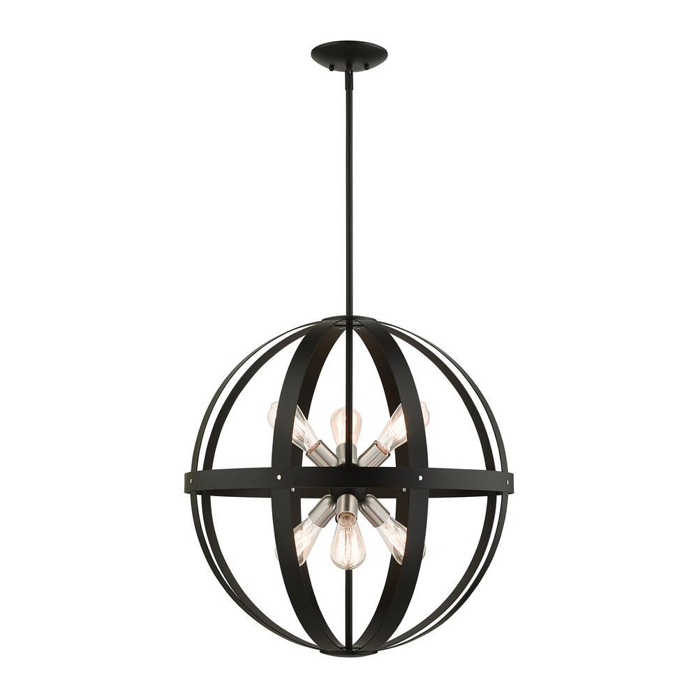 Stoneridge 6 Light Textured Black Pendant Chandelier
