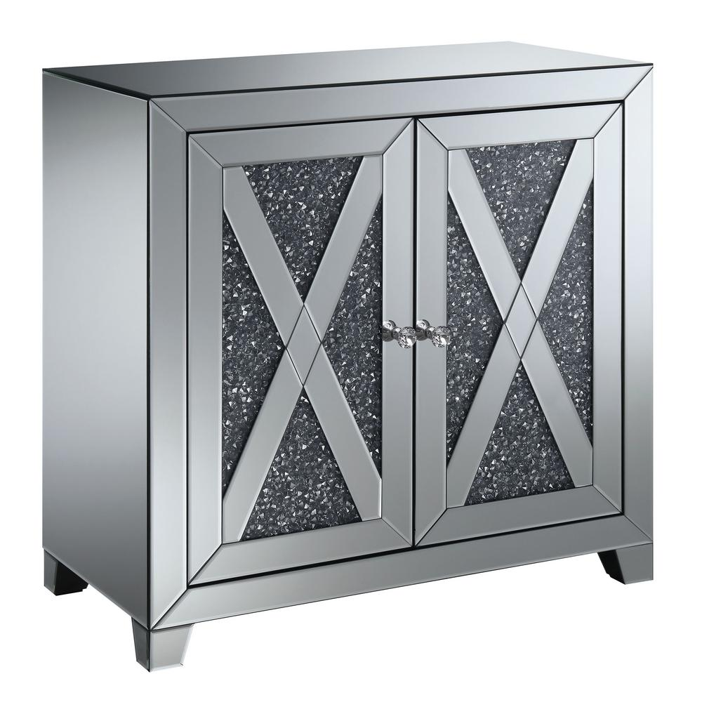Furniture Of America Martin Silver Hallway Cabinet With Lustrous Glass  Accents