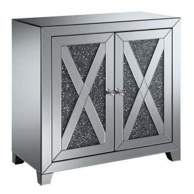 Superieur Martin Silver Hallway Cabinet With Lustrous Glass Accents