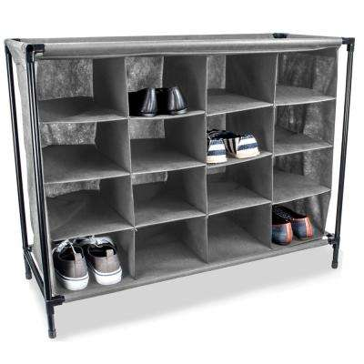 16-Pair Grey Shoe Organizer