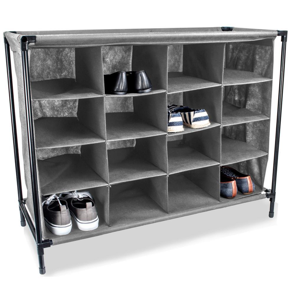16-Pair Grey Shoe Organizer