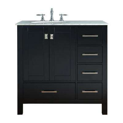 Malibu 36 in. Vanity in Espresso with Marble Vanity Top in Cararra White