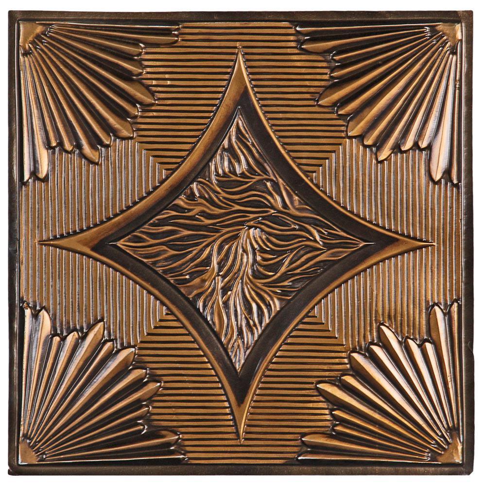 udecor burbank 2 ft x 2 ft lay in or glue up ceiling tile in antique gold 48 sq ft case. Black Bedroom Furniture Sets. Home Design Ideas