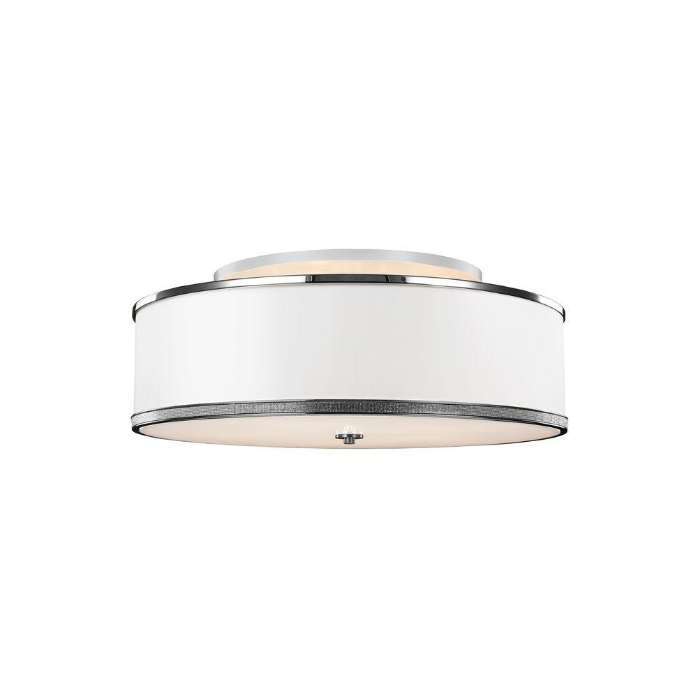 Pave 5-Light Polished Nickel Ceiling Fixture