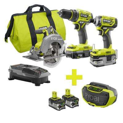 18-Volt ONE+ Lithium-Ion Cordless Brushless Combo Kit (3-Tool) w/Bonus Hybrid Bluetooth Stereo and (2) 4Ah Batteries