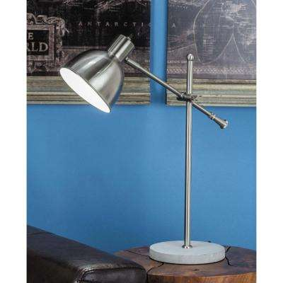 20 in. x 25 in. Modern Bell-Shaped Silver-Finished Iron Task Lamp