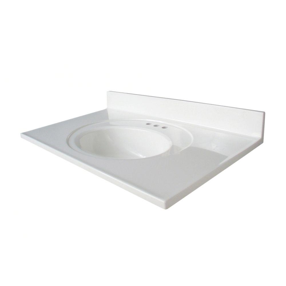 Glacier Bay Newport 37 in. W x 22 in. D AB Engineered Composite Vanity Top   in White