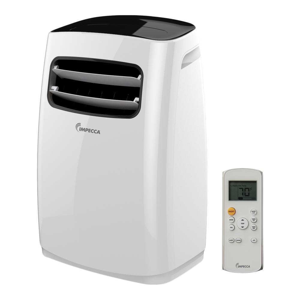 Impecca 12,000 BTU Portable Air Conditioner with Dehumidifier and Remote The Impecca 12,000 BTU Portable 3-in-1 Air Conditioner features Cool, Dehumidify or just as a Fan, all modes in 1 unit. It is equipped with large Casters that allows easy movement from room to room. The unit offers 2-fan/ cooling speeds to regulate airflow, while the Auto 2-way air directors spreads the air throughout the room. Unlike most other portable Air Conditioners, this unit has a stylish, modern design. Includes great features such as a Deluxe Remote control with display. The  Personal Mapping Temperature Sensor  will sense the temperature from where the remote control is located.
